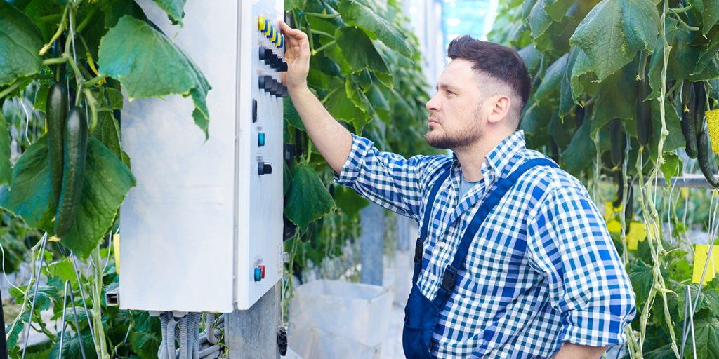 Man looking at electrical box in an agricultural building